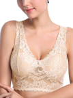Nude Padded Design Wireless Lace Bra