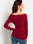Burgundy Off Shoulder Bodycon Fashion Knitted Sweater