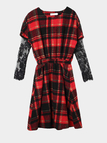 Red Check Lace Insert Long Sleeves Dress