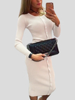 Apricot Fake Buttons Long Sleeves Midi Dresses