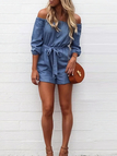 Blue Off The Shoulder Denim Romper