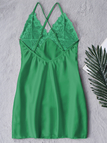 Green See-through Lace Insert Crossed Back Pajamas with T-Back