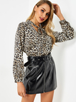 Apricot Leopard Self-tie Design V-neck Long Sleeves Pleated Back Blouse