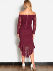 Burgundy Lace Off Shoulder Fashion Party Dress
