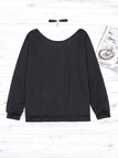 Black Printed One Shoulder Long Sleeves T-shirts