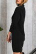 Pure Color High Neck Long Sleeves Party Dress