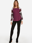 Stripe Patchwork Round Neck Long Sleeves T-shirt