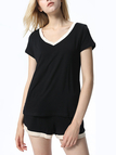 Black V-neck Short Sleeves Pajama Sets