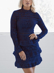 Navy Hollow Out High Neck Long Sleeves Lace Dress