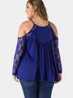 Plus Size Blue Lace Insert Cold Shoulder Blouse