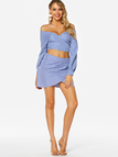 Blue Grid Self-tie Design Off The Shoulder Top & High-waisted Skirt Co-ord