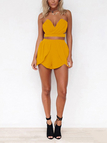 Yellow Sexy Cropped Top & High Waist Shorts Co-ord