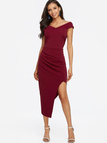 Burgundy Off Shoulder Asymmetrical Maxi Dress