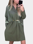 Green Classic Collar Long Sleeves Shirt Dresses