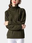 Green Cable-Knit Turtleneck Long Sleeves Sweater