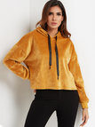 Yellow Hooded Design Plain Long Sleeves Hoodie
