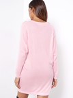 Pink Plain V-neck Bat Long Sleeves Loose Fit Sweaters