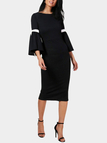 Black Lace-up Design Round Neck Bell Sleeves Dresses