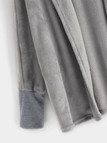 Grey Open Front Design Long Sleeves Hooded Woolen Coat