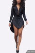 Black Sexy V-neck Asymmetrical Mini Dress