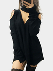 Black V-neck Cold Shoulder Sweater with Choker