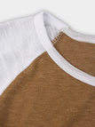 Brown Spell Color Round Neck Long Sleeves T-shirt