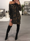 Camo Lace-up Neck Long Sleeves Dress