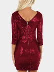 Shiny Red Round Neck 3/4 Length Sleeves Party Dress