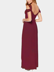 Sexy Burgundy Backless Dress With Cold Shoulder Design