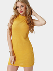Yellow Sleeveless Crew Neck Knitted Mini Dress