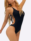 Black Sexy Halter Backless Self-tie Swimsuit