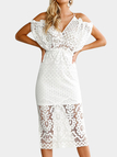 White Lace Irregular Top design And Cut Out V-neck Sleeveless Midi Dress
