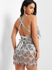 Silver Lace-up Design Sequins Embellished Dress
