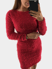 Red Round Neck Long Sleeve Fluffy Dress