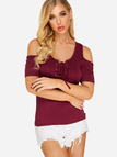 Burgundy Cold Shoulder Lace-up T-shirt