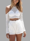 White Halter Neck Mesh Co-ord