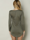 Army Green Fleece Lined Pullover Curved Hem Bodycon Fit Dress