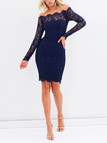 Navy Lace Off The Shoulder Long Sleeves Dress