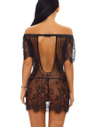 Black Tease Off-The-Shoulder Delicate Lace Eyelash Trim Pajamas with G-stings