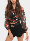 Black Floral Embroidery Mesh Crop Top