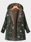 Green Hooded Design Floral Print Long Sleeves Fluffy Lining Coat