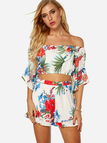 White Floral Print Off The Shoulder Bell Sleeves Two Piece Outfits