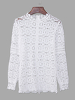 White Hollow Design High Neck Long Sleeves Top