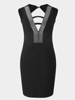 Black Backless Design Stitching V-neck Sleeveless Sexy Dress