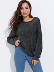 Silver Backless Design Plain Round Neck Long Sleeves Sweaters