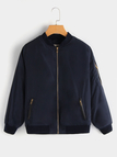 Navy Military Quilted Jacket With Zipped Pocket