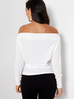 White Plain Off The Shoulder Bat Long Sleeves Top