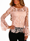 Pink See-through Lace Round Neck Long Sleeves Sexy Top