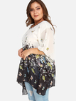 Plus Size Butterfly Pattern Round Neck Blouse