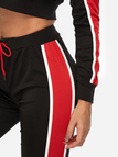 Red Hit Color Crop Top & Drawstring Waist Pant Two Piece Outfits
